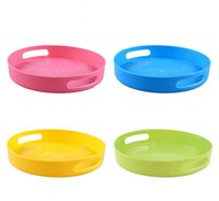 Wholesale 1pc Colorful fruit dish candy color bowl storage box plastic vegetable plate tableware tool creative round tea tray freeshipping