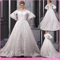 A-Line Reference Images 2016 Spring Summer Classic Off The Shoulder Plus Size Wedding Dresses With Sleeves Ivory Satin A-line Appliques Lace Bridal Gowns 2015 Church Fat Bride Dress
