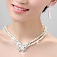Wholesale New arrival Bridal Pearl Crystal Necklace Earring Jewelry Set Wedding Jewelry Sets bridal accessories
