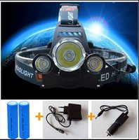 Wholesale Drop shipping LED Headlight XM L T6 Head Lamp High Power LED Headlamp mah battery Charger car charger