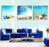 Wholesale Shell Oil Paintings Modern - The silent sea shells ,3 piece art sets Modern Abstract Oil Painting Canvas Wall Art , Decoration picture Pure hand-painted