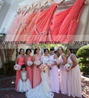 Wholesale 2015 Popular Coral Bridesmaid Dresses Plus Size Bridesmaid Dresses One Shoulder Beads Chiffon Junior Bridesmaid Dresses Maid Of Honor Gowns