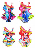 Wholesale One Piece Swimsuit Girls Ice and Snow Character Print Swimwear Kids Nylon and Strapless Swimwear