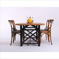Wholesale Coffee cafe tables and chairs wrought iron table vintage wood furniture wood conference table desk