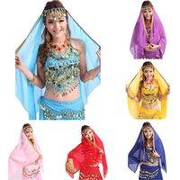 Wholesale 2015 New Arrival Belly Dance Chiffon Big Veil Shawl Skirt Scarf Gypsy Tribal Gold Trim Headscarf