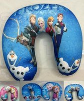 Wholesale Frozen U shape Neck Pillow and Cushion big hero minions neck Cartoon White Plush Pillow Office Travel Relax Pillow styles