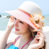 big fee - Hot Sale attractive Beach Hat Visor Hat Lady summer hat foldable Summer Sun Hat For Women Straw with big flower fee ship