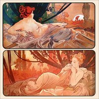 alphonse mucha paintings - paintings by Alphonse Mucha Dusk and Dawn Home Decor Hand painted High quality