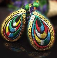 Wholesale ZJ pair Chinese wind peacock embroidery earrings handmad sequins beading earrings