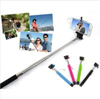 Wholesale 50pcs z07 s Audio cable wired Selfie Stick Extendable Handheld Monopod plug and play Cable Take Pole Wired for iPhone PLUS Samsung note