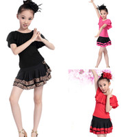 asian clothes - New Arrival Children s Latin Dance Dress Wear Sets Performance Girl Clothing Costume Asian Tag Size UA0022 salebags