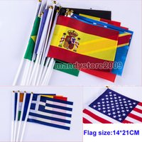 Wholesale High Quality cm International Flag Small Hand Signal Flag Hand Flags sets Flag Two Sides Printed National Polyester Small Flag