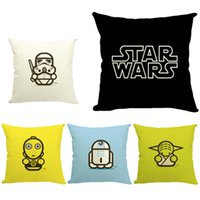 Wholesale DHL Star Wars cm Pillow Covers Cartoon Jedi Knight Darth Vader Yoda Cushion Covers Linen Pillow Case Cushion Cover E368