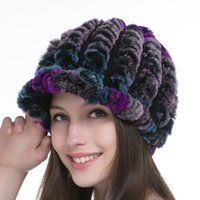 baseball rabbit - Russia fur hat for women winter rex rabbit fur hat female elastic knitted cap URSFUR Women s Rex Rabbit Fur Knited Baseball Caps