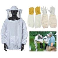 Wholesale Beekeeping Protective Jacket Veil Mask w Pair Long Sleeve Goatskin Cape Gloves order lt no track