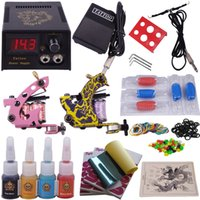 Wholesale Complete tattoo kit Tattoo Machine Guns tattoo inks Tattoo Needles Tattoo power Supply Beginner permanent make up set
