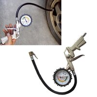 Wholesale Attractive PSI Auto Car Bicycle Tire Pressure Gauge Meter Air Inflator Gun Flexible Hose May