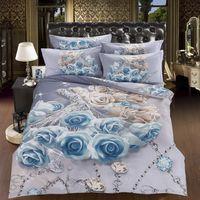 achat en gros de reine drap-housse en coton blanc-3D Blanc Bleu Rose literie de fleurs ensemble couvre-lits romantique housse de couette super king queen double taille équipée de draps de lit en coton 6pcs