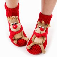 Wholesale Free shpping Christmas socks for women floor santa socks decorations Christmas gifts santa snowman and reindeer pattern