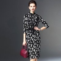silk dress - 2016 Spring clothing new styles Female outfit printing stand collar Lace Seven points sleeve Medium skirt real silk one piece Dress