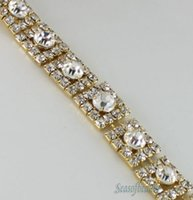 Wholesale 1yds Rhinestone Crystal Gold Square Applique Chain Bridal Dress Costume Trim order lt no tracking