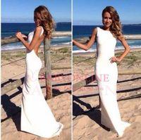 Wholesale Cheap In stock summer beach cool Sheath wedding dresses bateau sleeveless floor length wedding bridal gowns BO3400