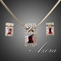 red plates - AZORA K Real Gold Plated Unique Design with Dark Red Cubic Zirconia Earrings and Necklace Jewelry Set TG0027