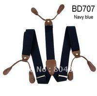 Wholesale Adult Braces Unisex Suspender Adjustable Leather Fitting Six Button Holes Navy Blue BD707