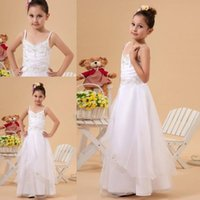 Wholesale 2015 Pageant Dresses For Girls Spaghetti Sleeveless Girls Flower Girl Dress Dress Girls Wedding Dress Zipper With Appliques Floor Length A8