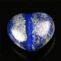 Wholesale 30mm Natural Lapis Heart Shape Crystal Chakra Stone Carved Healing Reiki Free Pouch