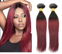 Cheap cheap burgundy ombre brazilian hair extensions 1b 99j 6a ombre straight virgin hair two toned brazilian straight hair bundles 3pc lot 10-26