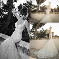 Trumpet/Mermaid Reference Images Spaghetti Berta Bridal 2014 Lace Wedding Dresses for Bride 2015 Collection Vintage Appliqued Sweetheart Backless Chapel Train Mermaid Bridal Gowns CGl