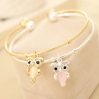 New Fashion Charm femmes Cristal Owl plaqué or Cuff Bracelet Bijoux 2 Couleurs Free Shopping