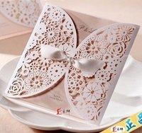 elegant wedding invitations - laser cut lace Wedding birthday invitation card with ribbon white elegant envelope personalized customizing with