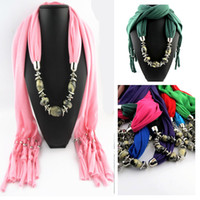 Wholesale FreeDHL Fashion mix colors pendant scarf charms scarves jewelry Wrap cotton soft scarves beads mix Style Ladies Scarfs E87L