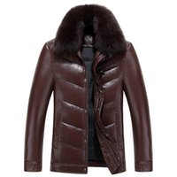 Wholesale 2016 Best Selling High Quality Winter Thick Warm Black Men Leather Fur Jackets Coat Real Image in Stock Size M L XL