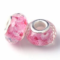 Wholesale Rose Red Pattern Christmas Charm Crystal Glass Beads European Silver Plated Faceted Beads