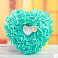 Cheap XT-3524 Free shipping Hot sale The Ring Pillow White Heart-shaped style Ring Box creative Sky Blue Wedding Table Decoration for Bride