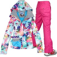 Wholesale new Combination ski suit gsou snow womens camouflage ski jacket and pants set Colorful snow clothes for women