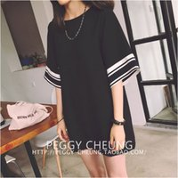 Cheap Free shipping! Wholesale retail 2015 fashion New arrival women lady Pop striped short sleeve tshirt o-neck long jumper dress