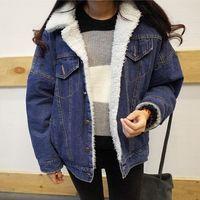 Wholesale Korean Women Denim Jacket with Lamb Fur Lapel Collar Oversized Boyfriend Fleece Lined Parka Jeans Jacket Winter Warm Loose Coat