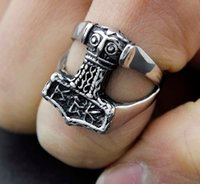 Wholesale Viking Corss Thor Hammer Mjolnir Ring Mens Biker Stainless Steel Fingerring SR46