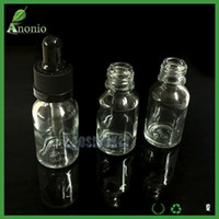Wholesale 500pcs Mini Glass Bottles E Liquid Bottles Transparent Glass Dropper Bottles With Black Childproof Caps ml ml ml ml ml Vape Liquid