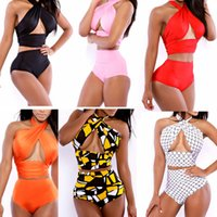 Wholesale Hot sexy high waist bandage one piece halter swimsuit sexy monokini bathing suit women s swimwear push up hole white black red M L XL
