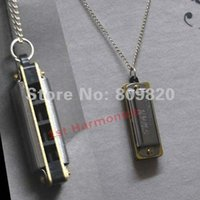 Wholesale New Silver mini Swan Harmonica Necklace Pendant hole tone C do chic gift for students memory souvenir