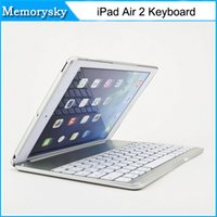 Wholesale Colorful Keyboard Tablet Covers - New For Apple iPad 6 Air 2 Tablet Luxury Aluminium Folio Bluetooth Keyboard Protective Case Stand Cover With Colorful Backlit Light 010243