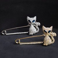 alloy steel fasteners - Top Grade Silver Brooches Hot Sale New Fashion Crystal Rhinestone Cat Brooch Pins Scarve Fastener For Party Jewelry Free DR