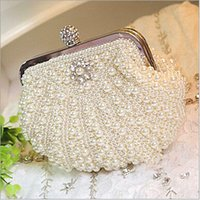 Wholesale 2015 Wedding Purses Bridal Hand Bags Pearls Beads Luxury Ladies Handbags Women s Prom Party Evening Clutches Purse Bags White Black ady01