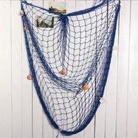 bamboo beach bar - Novelty Decorative Fishing Net With Shells Nautical Style Home Wall Party Bar Beach Scene Decor White Blue