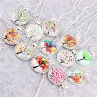 photo glass - 38 styles Tree of Life Necklace Pendant Charm Chain Gifts for Her Mum Girls Photo Glass Cabochon Dome Necklace Pendant